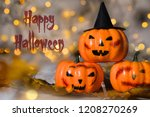 three spooky orange pumpkins.... | Shutterstock . vector #1208270269