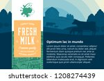 vector milk illustration with... | Shutterstock .eps vector #1208274439