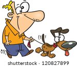 Stock vector cartoon man taking his dog for a walk 120827899