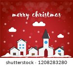 merry christmas red background | Shutterstock .eps vector #1208283280