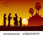 couple buddhist give food... | Shutterstock .eps vector #1208294929