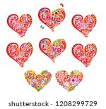 heart shapes set for t shirt... | Shutterstock .eps vector #1208299729