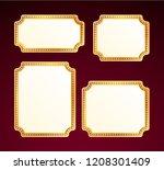 gold frame with light bulbs on...   Shutterstock .eps vector #1208301409