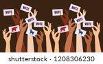 multicultural women voting.... | Shutterstock .eps vector #1208306230