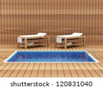 Spa Room Interior with Pool and Tables for Massage - stock photo