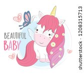 cute unicorn with pink hair | Shutterstock .eps vector #1208315713