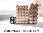 closeup of pile of used... | Shutterstock . vector #1208316376