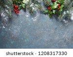 christmas background with fir... | Shutterstock . vector #1208317330