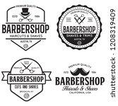 set of vintage barbershop... | Shutterstock .eps vector #1208319409