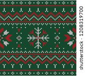 christmas knitted pattern.... | Shutterstock .eps vector #1208319700