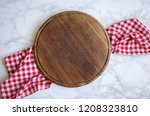 empty round wooden cutting... | Shutterstock . vector #1208323810
