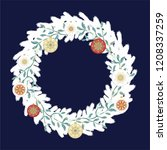 white christmas wreath with... | Shutterstock .eps vector #1208337259