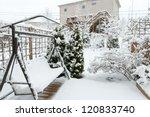 Snowy Swing  On Garden Patio ...