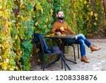 beard man is sitting in a cafe... | Shutterstock . vector #1208338876