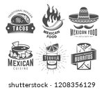 mexican cuisine logos. vector... | Shutterstock .eps vector #1208356129