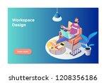 freelancer concept  coworking... | Shutterstock .eps vector #1208356186