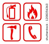 fire extinguisher icon. flat... | Shutterstock .eps vector #1208356363