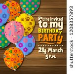 birthday party invitation card... | Shutterstock .eps vector #1208357893