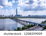 view of han river at seoul city ... | Shutterstock . vector #1208359009