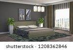 bedroom interior. 3d...   Shutterstock . vector #1208362846