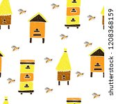 seamless pattern with  bees ... | Shutterstock .eps vector #1208368159