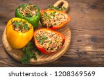 stuffed peppers with meat and... | Shutterstock . vector #1208369569