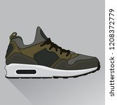 design sneakers dark green ... | Shutterstock .eps vector #1208372779