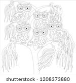 coloring book for adult and... | Shutterstock .eps vector #1208373880