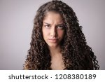 angry beautiful exotic woman. | Shutterstock . vector #1208380189