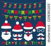 santa claus vector hats  beards ... | Shutterstock .eps vector #1208381203