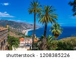beach view from taormina. ... | Shutterstock . vector #1208385226
