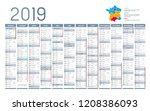 year 2019 calendar  in french... | Shutterstock .eps vector #1208386093