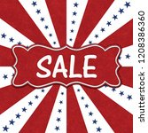 usa sale message on a ribbon... | Shutterstock . vector #1208386360