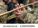 Musician of military orchestra of the Ukrainian army plays the trumpet, the Armed Forces of Ukraine