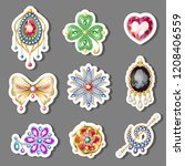 cartoon colorful paper brooches ... | Shutterstock .eps vector #1208406559