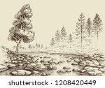 river drawing. water flow ... | Shutterstock .eps vector #1208420449