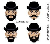 a set of male faces in retro... | Shutterstock .eps vector #1208422516