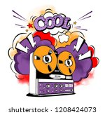 vintage recording equipment.... | Shutterstock .eps vector #1208424073