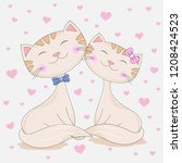 cute two lovely cats girl is... | Shutterstock .eps vector #1208424523