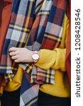 street style fashion details.... | Shutterstock . vector #1208428546