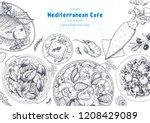 mediterranean cuisine top view... | Shutterstock .eps vector #1208429089
