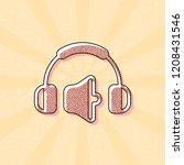 headphones and volume level.... | Shutterstock .eps vector #1208431546
