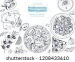 mediterranean cuisine top view... | Shutterstock .eps vector #1208433610