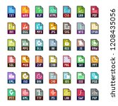 file formats vector icon set in ... | Shutterstock .eps vector #1208435056
