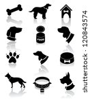 Stock vector dog silhouette icons eps vector no open shapes or paths 120843574