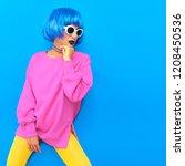 fashion colorful model.... | Shutterstock . vector #1208450536