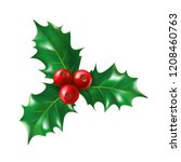 isolated holly berry with... | Shutterstock .eps vector #1208460763