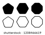 Rounded edge pentagon, hexagon, octagon icon. Vector geometry rounded corner polygon.