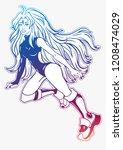 beautiful girl in swimsuit.... | Shutterstock .eps vector #1208474029