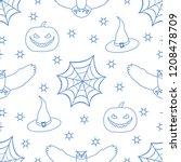 halloween 2019 vector seamless... | Shutterstock .eps vector #1208478709